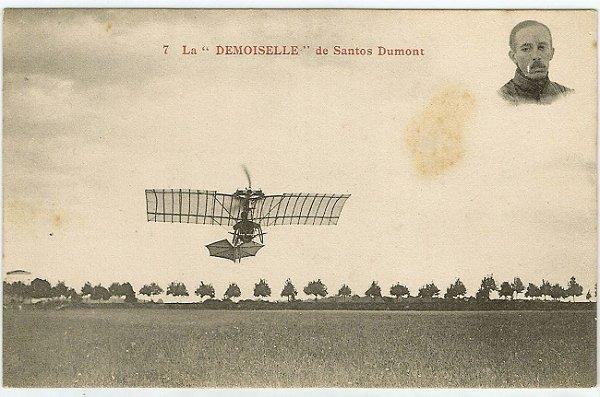 Santos Dumont - Cartão Postal Antigo, Apresentação do Avião La Demoiselle