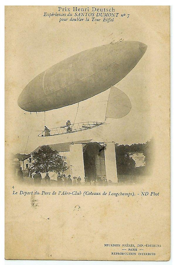 Santos Dumont - Cartão Postal Antigo, Balão Contornando a Torre Eiffel, Original de 1901