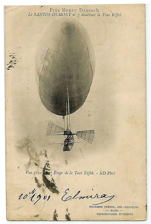 Santos Dumont, Cartão Postal de Balão Contornando a Torre Eiffel - Original de 1901