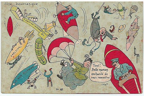 Santos Dumont, Raro Cartão Postal Antigo com Caricatura, Charge Do 14 Bis