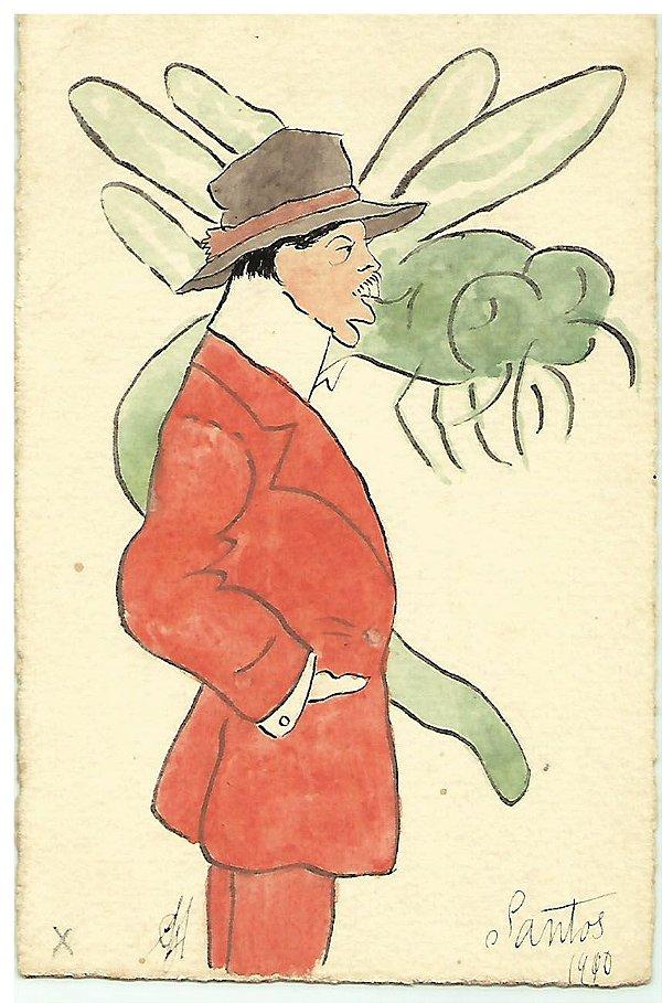 Santos Dumont, Raro Cartão Postal Antigo com Caricatura, Charge Com Abelha