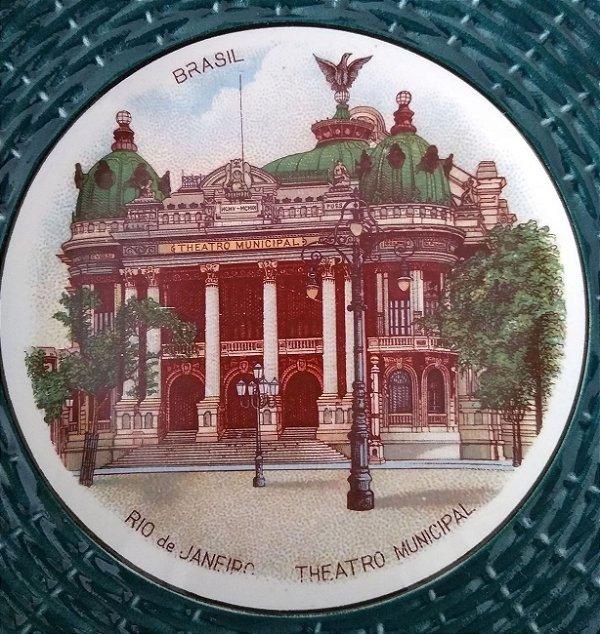 Rio Janeiro, Antigo Prato Frances Sarreguemines Imagem do Teatro Municipal