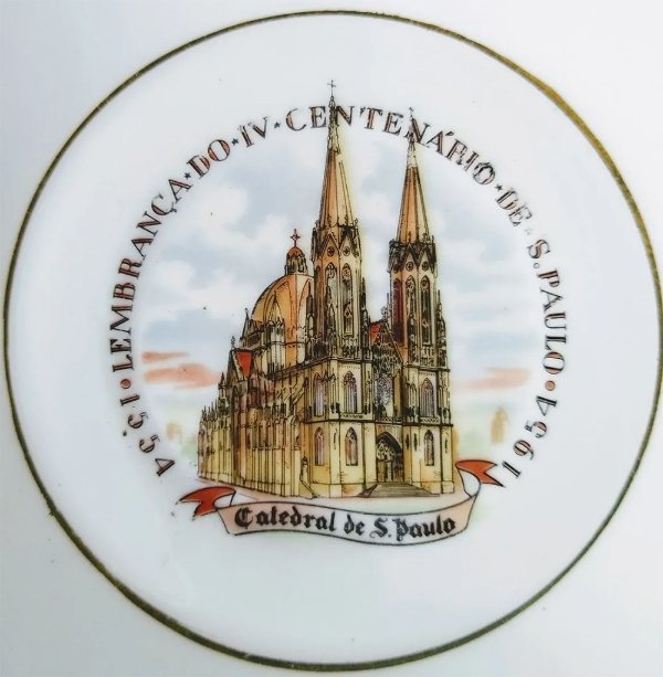 IV Centenário de São Paulo - Prato de Porcelana com Imagem da Catedral da Sé