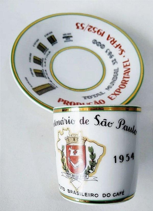 IV Centenário De São Paulo - Xícara Porcelana Produção de Café Exportável 1952-53