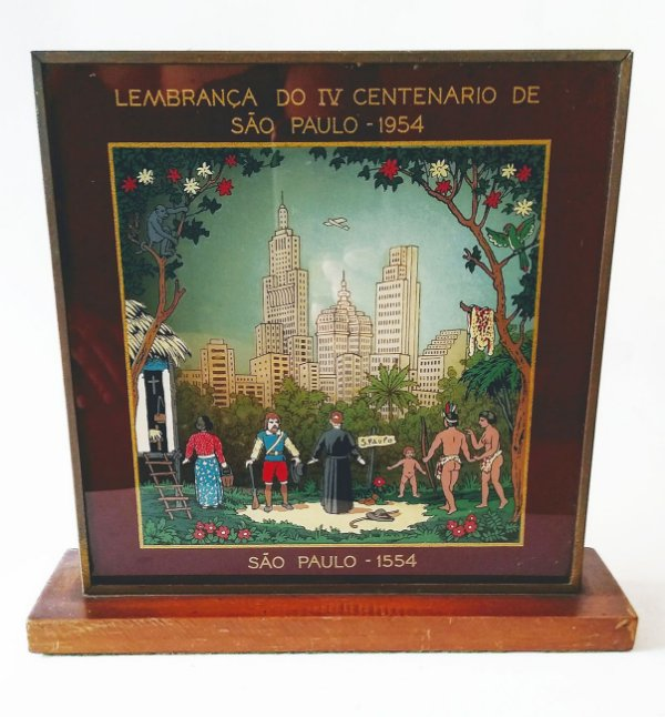 IV Centenário de São Paulo - Centro da Cidade com Prédio do Banespa, Caixa Pintura em Vidro e Metal 3D