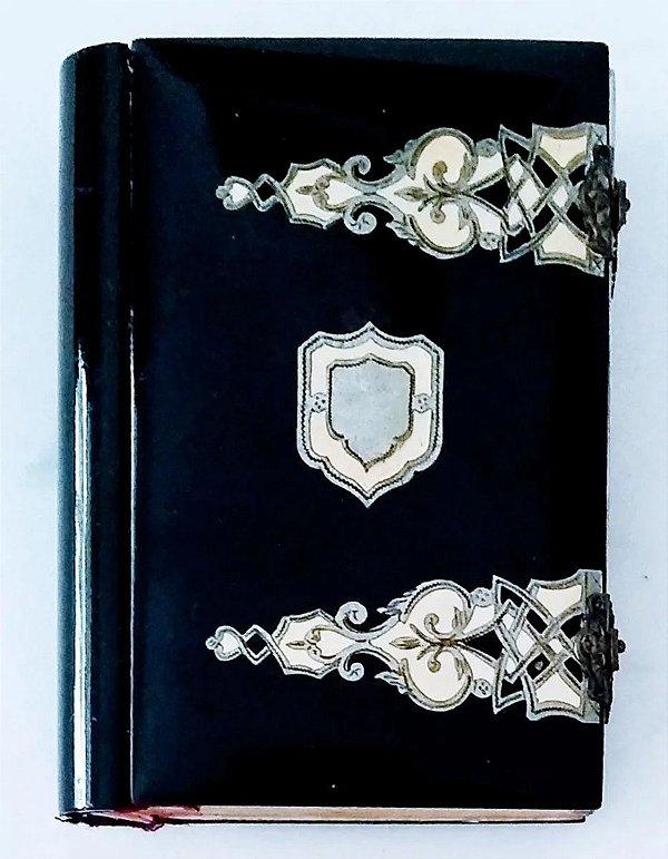 Missal do Século XIX Datado 1857,  com Capa de Celuloide Rígida, Decoração em Prata e Marfim