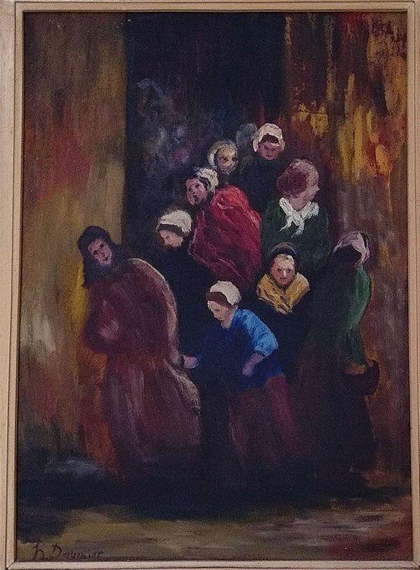 """Renato Meziat - Releitura Da Obra De Honoré Daumier """" Titulada  """"La Sortie de L´école"""", 1972"""