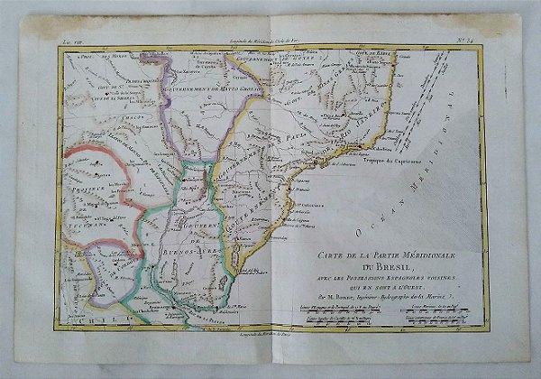 Antigo Mapa do Brasil  Original de 1781, Sul Brasil e Possessões Espanholas Vizinhas