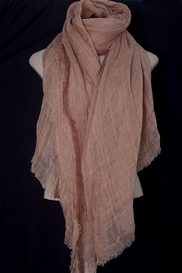 Xale 100% Linho Extra Grande Nude Rosê