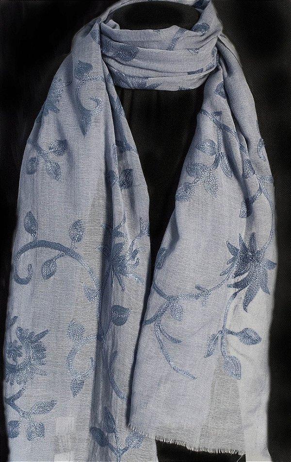Pashmina 100% Lã da Kashmira Jamawar Flores Azul Pastel