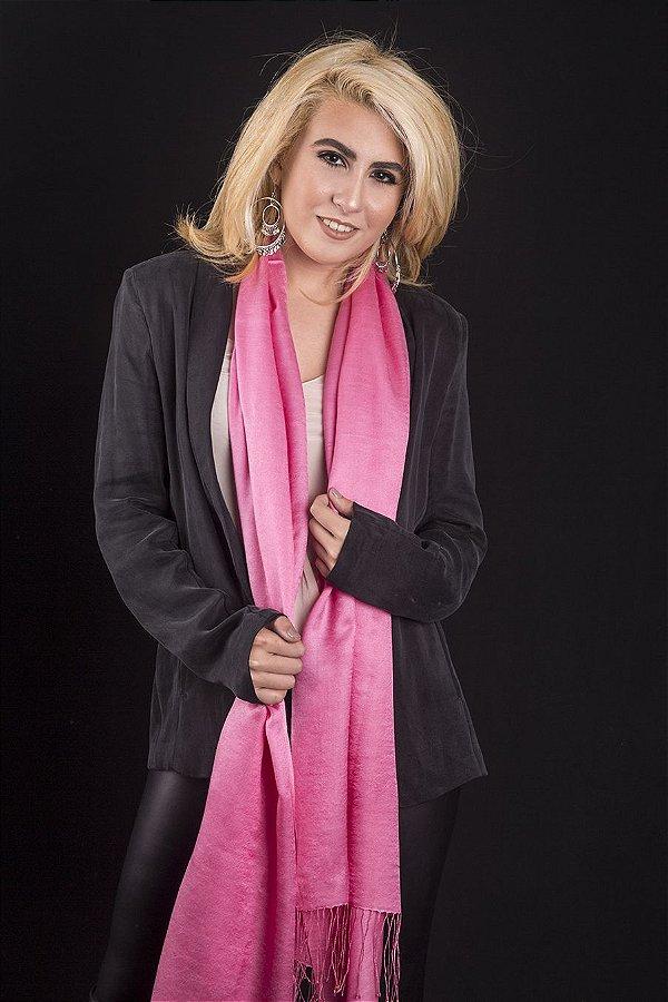 Pashmina Original Acetinada com Seda Pink