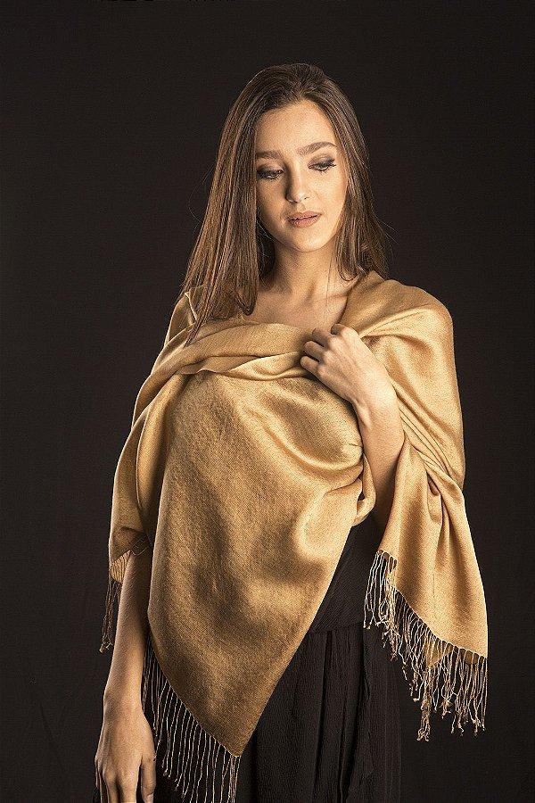 Pashmina Original Nepal com Seda Ouro
