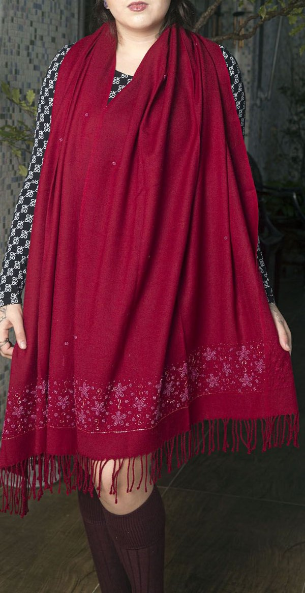 Pashmina 100% Lã da Kashmira Encorpada com Bordado Flores Beads