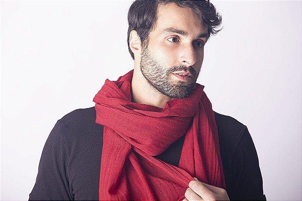 Pashmina Masculina 100% Lã da Kashmira Vermelha