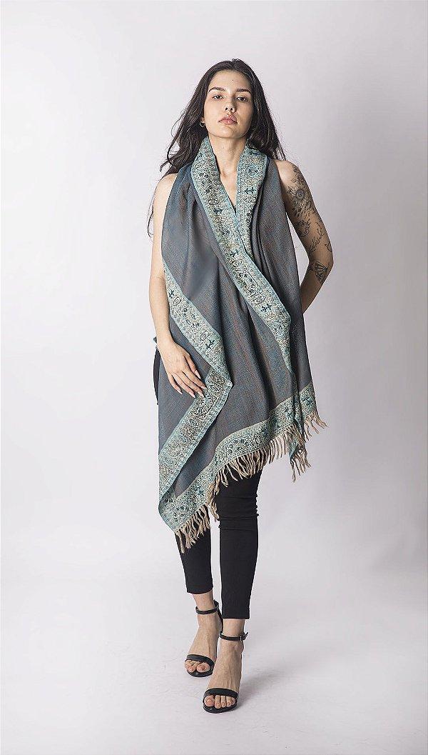 Pashmina 100% Lã da Kashmira Beads Azul