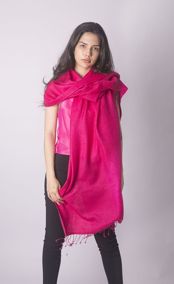 Pashmina Original Nepal com Seda Pink