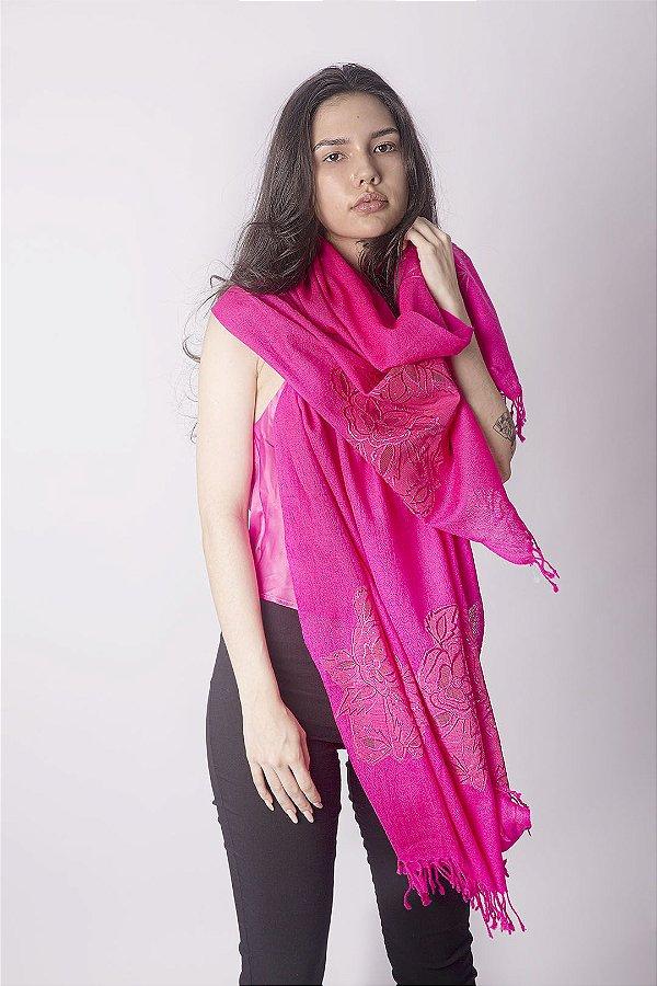 Pashmina 100% Lã da Kashmira Barra Bordada Renda Pink