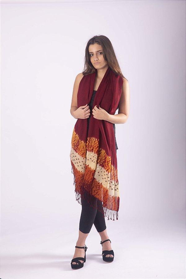 Pashmina 100% Lã da Kashmira Tie Dye e Bordado Com Lantejoulas Vinho