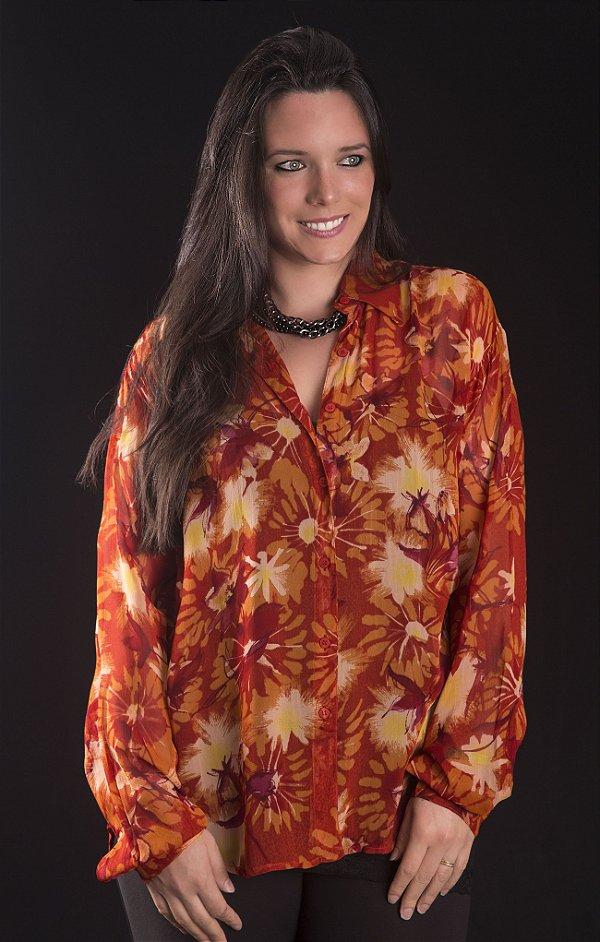 Camisa Georgette Floral Vermelha Plus Size