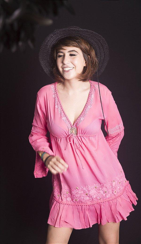Bata Mini Vestido 100% Algodão Pink com Broche