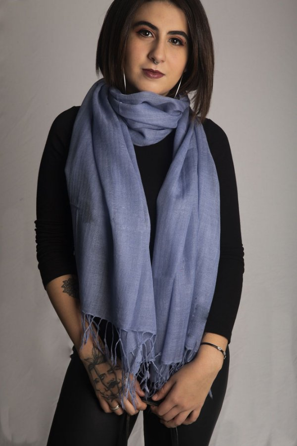 Pashmina 100% Lã da Kashmira Azul Hortência