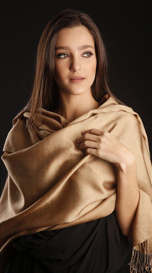 Pashmina Lã da Kashmira com Seda Caramelo Dourada