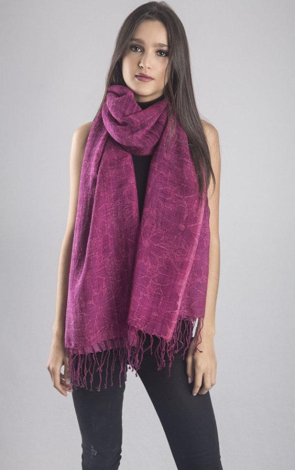 Pashmina 100% Lã da Kashmira com Batik Floral Manual Pink