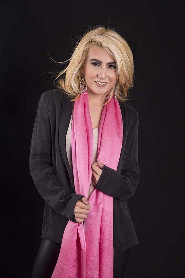 Pashmina Lã da Kashmira com Seda Pink