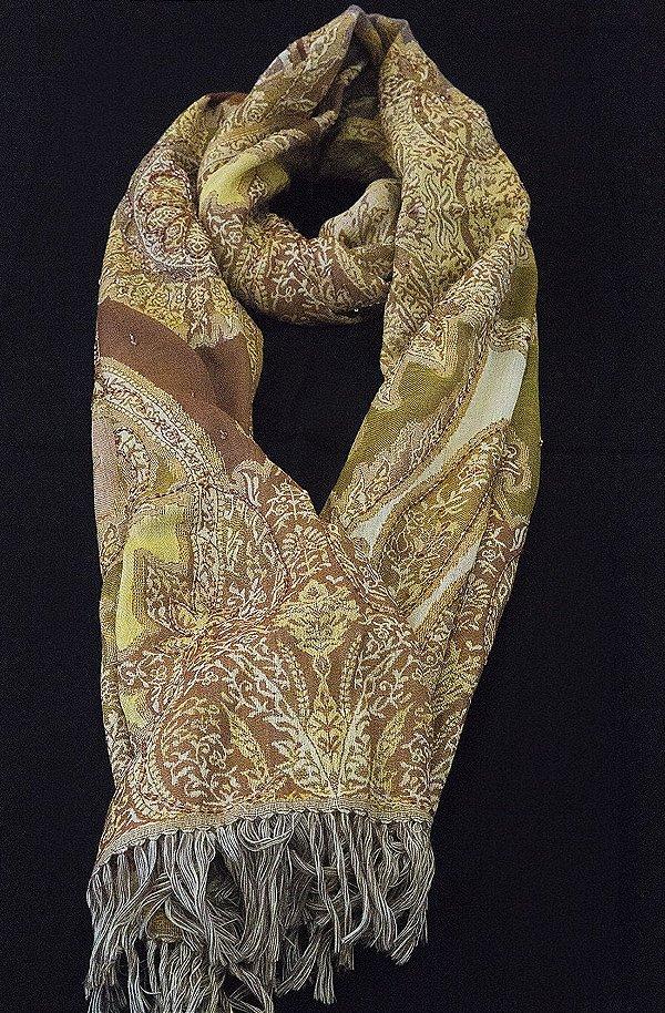Pashmina 100% Lã da Kashmira Mostarda Jacquard Bordado Especial com Beads