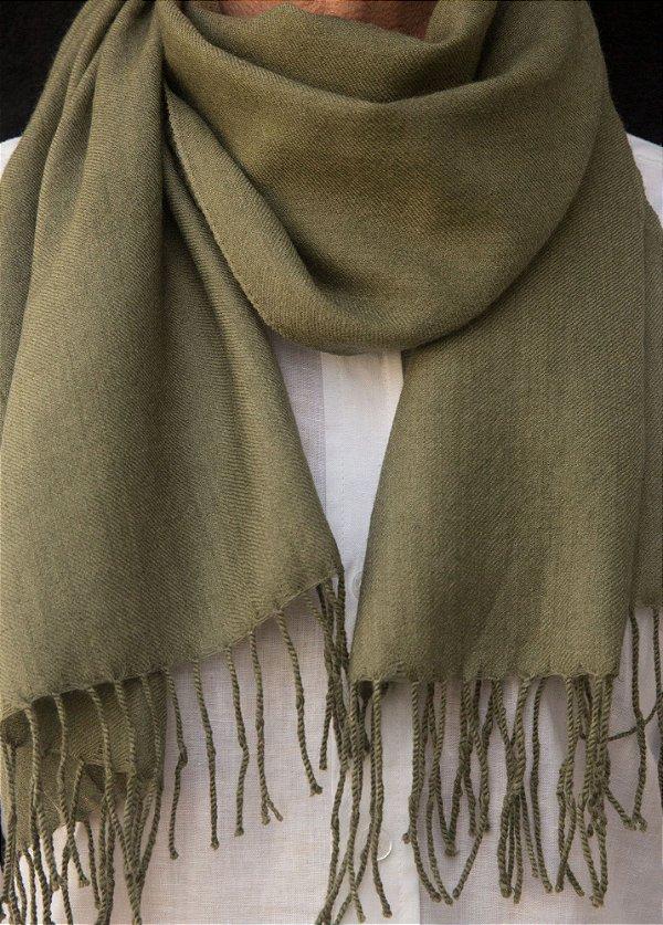Cachecol Pashmina 100% Lã da Kashmira Masculino Verde Oliva