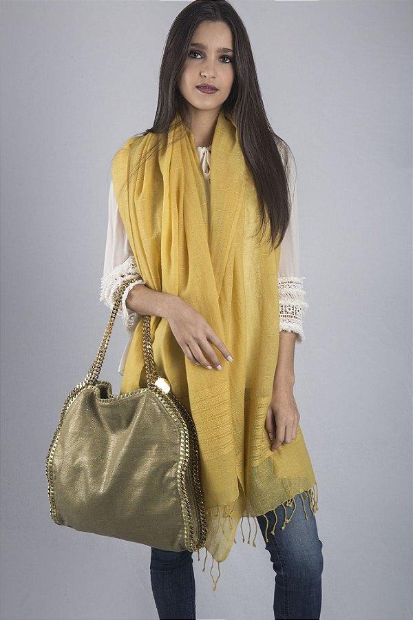 Pashmina 100% Lã da Kashmira Amarela Barra Bordada (Extra Large)