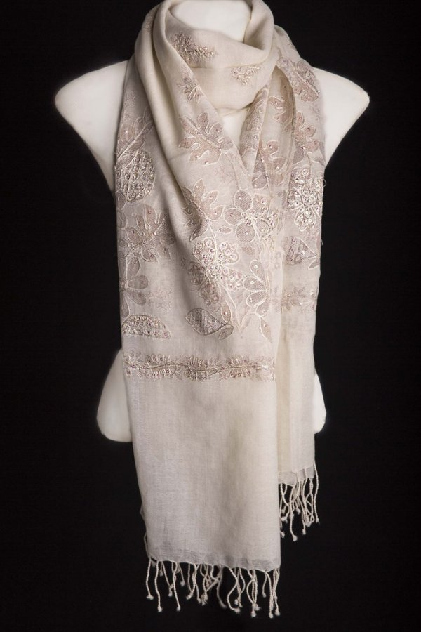 Pashmina 100% Lã da Kashmira Bunch Senior Off White
