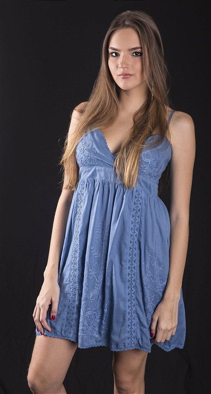 Mini Vestido 100% Algodão Alcinha Bordado Azul