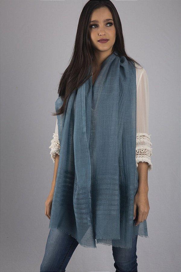Pashmina 100% Lã da Kashmira Azul Bordada