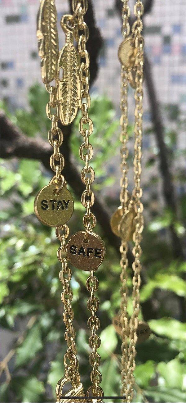 Colar Amuletos Stay Safe Collection Indian Handmade Banhado a Ouro