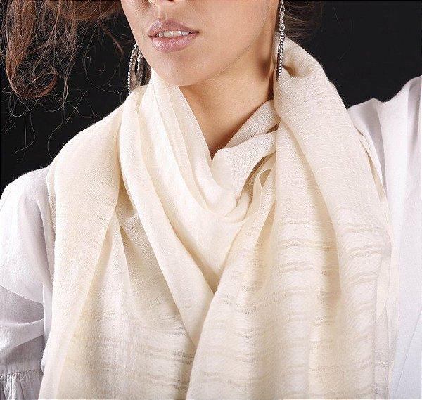 Pashmina 100% Lã da Kashmira Barra Bordada (6 Variações de Cor)