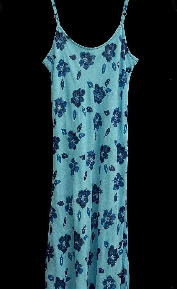 Vestido Crepe Georgette Floral Azul
