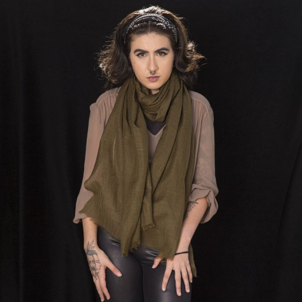 Pashmina 100% Lã da Kashmira Verde Oliva