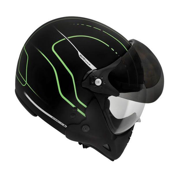 Capacete Peels F21 TechLine (Preto Fosco/Verde)