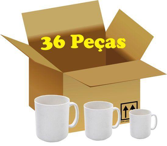 Caixa com 36 Canecas de Porcelana 320ml para Sublimação
