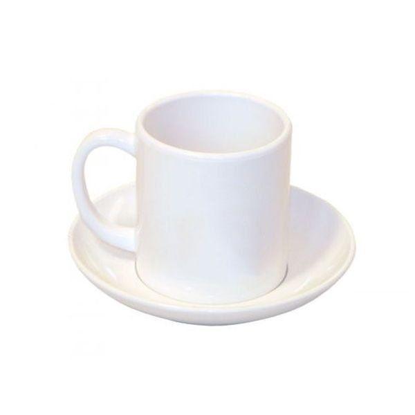 10 Canecas com Pires Plástica Branca para Sublimação