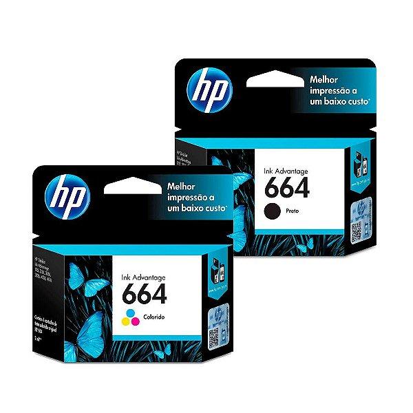 Kit Cartucho HP 664 Preto + HP 664 Colorido Originais