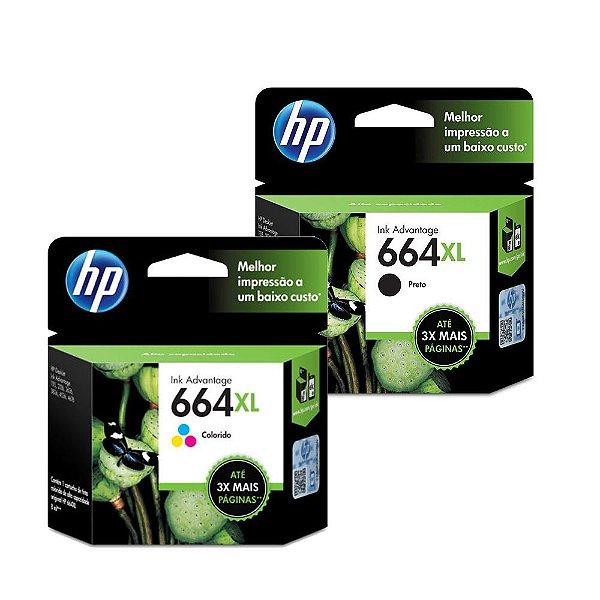 Kit Cartucho HP 664XL Preto + HP 664XL Colorido Originais