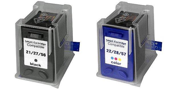 Kit Cartucho Compatível HP 21/27/56 e 22/28/57 XL Microjet
