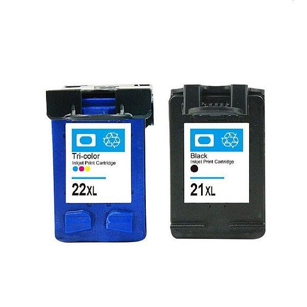 Kit Cartucho Hp 21 Preto + Hp 22 Colorido Compativel Microjet p/ 3920 J3680 F380