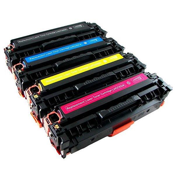 Kit 4 Toner Compatível HP 304A CC530A CC531A CC532A CC533A CP2025 CM2320