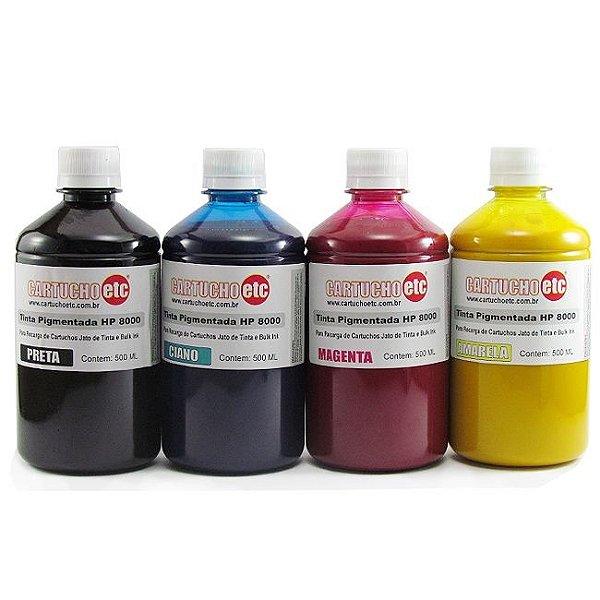Kit 2 Litros de Tinta Inktec Pigmentada Hp Serie 8000 500ml de Cada Cor