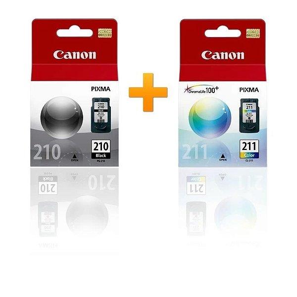 Kit Cartucho Canon PG210 Preto + CL211 Color MP240 MP480