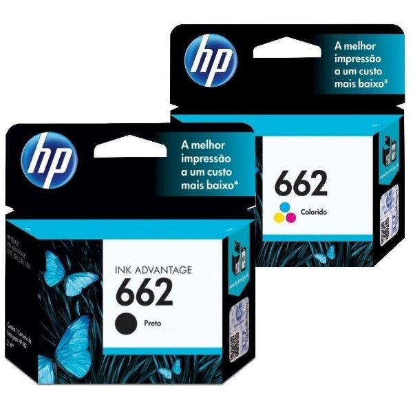 Kit Cartucho Hp 662 Preto + 662 Color 2515 2516 3515 Originais