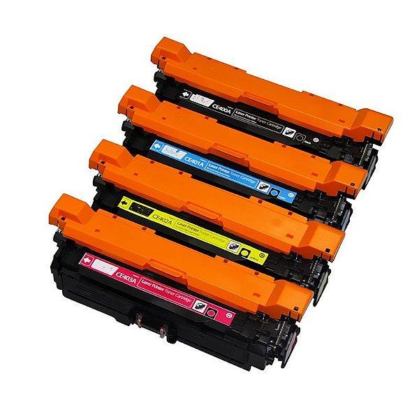 Kit 4 Toners Hp 507A M551DN M570DN M575F Compativeis 1 de Cada Cor CE400 CE401 CE402 CE403